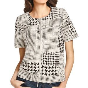 CAbi NWT Houndstooth Coupe Bomber Short Sleeve M